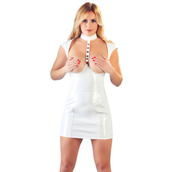 White Vinyl Cupless Dress